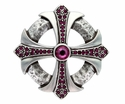 100328 Fuchsia Rhinestone Cross Celtic Belt Buckle Made In Italy