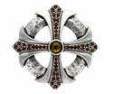 100328 Smoked Topaz Rhinestone Cross Celtic Belt Buckle Made In Italy