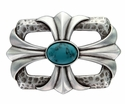 100435 Turquoise stone Cross Celtic Belt Buckle Made In Italy