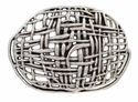 100552 Antique Silver Mesh Belt Buckle Made In Italy