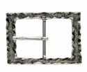 100566 Antique Silver Rectangular Center Bar Belt Buckle Made In Italy Belt Buckle