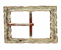 100566 Copper White Rectangular Center Bar Belt Buckle Made In Italy Belt Buckle