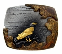 HA2343 Vintage Antique Black Gold Crow Engraved 3D Buckle