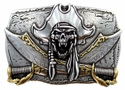 100584 Pirate Skull 3D Punk Belt Buckle Made In Italy
