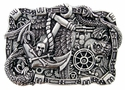 100588 Boat Anchor Rudder Skull Punk Belt Buckle Made In Italy