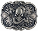 "1770-22 Skull & Snake 1-1/2"" Pewter Trophy Buckle"