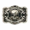 "71500-02 Skull Cross Flame 1-1/2"" Buckle"
