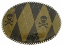 Argyle Skull Belt Buckle Hand-Crafted in the USA