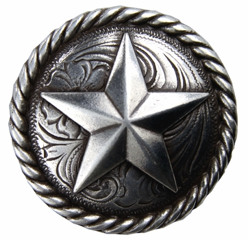 "BS9156-2 SRTP 1 1/4"" Antique Silver Plated Round Rope Edge Star Concho"