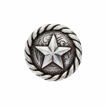 "BS9156 SRTP 3/4"" Antique Silver Plated Round Rope Edge Star Concho"