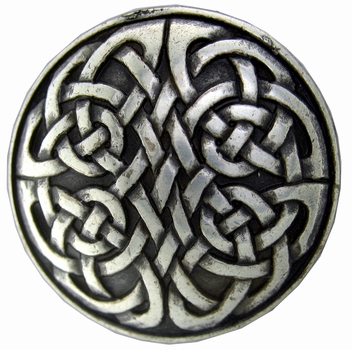 "BS9164 SRTP 1 1/8"" ANTIQUE SILVER CELTIC SCREWBACK CONCHO"
