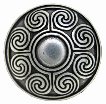 "BS9166 SRTP 1 1/8"" ANTIQUE SILVER SCREWBACK CELTIC CONCHO"
