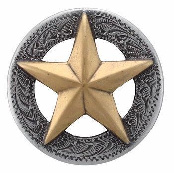 "BS9951-4 SRTP/GP 1 1/2"" ANTIQUE SILVER FINISH WITH GOLD STAR RAISED STAR ENGRAVED"