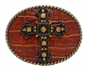Cross Rhinestone Leather Oval Belt Buckle Fits 1 1/2""