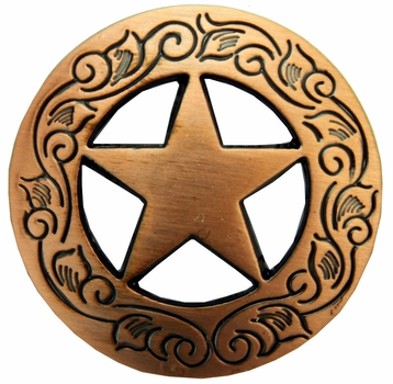 "F9703 COPPER 1 1/2"" FINISH ENGRAVED Ranger Star CONCHOS"
