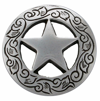 "F9704 SRTP 1 1/8"" STERLING SILVER FINISH ENGRAVED Ranger Star CONCHOS"