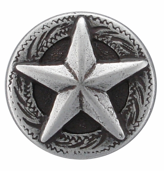"F9951-1 SRTP 5/8"" STERLING SILVER FINISH RAISED STAR ENGRAVED CONCHO"