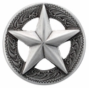 "F9951-2 SRTP 1 1/8"" STERLING SILVER FINISH RAISED STAR ENGRAVED CONCHO"
