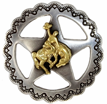 "FA4835-1 ASAG Star Bronco Rider Concho 3/4"" Antique Silver and Gold"