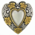 Floral Rope Edge Womens Heart Silver & Gold Belt buckle