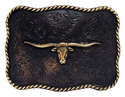 H8143 MOEB61 Longhorn Steer Head Antique Copper Finish Western Belt Buckle