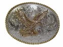 H8170 GSP Western Bald Eagle Western Belt Buckle Gold Silver