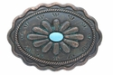 H8389-2 Turquoise Inlay Flower Patina Buckle