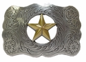 H8459 ASAG Texas Gold Raised Star Western Western Belt Buckle