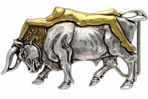 HA-1437 Antique Silver/Gold Naked Lady Bull Belt Buckle