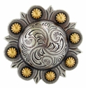 Ha 1687 ASAG Berry Concho style Belt Buckle gold silver