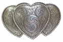 HA0086-1 LASRP Large Triple Three Heart Shape Western Womens Belt Buckle