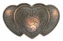 HA0086-1 SCVRB Large Triple Three Heart Shape Western Womens Belt Buckle