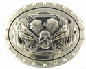 Maltese  Cross Skull & Flames Biker Belt Buckle