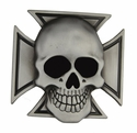 Maltese Iron Cross & Skull Belt Buckle Grinning Scary Skeleton Gothic Evil Cool