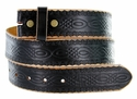 "Model 0085 Tooled Black Leather Belt Strap 1 1/2"" Wide"