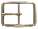 "S002B NP 1 1/2"" Solid Brass Polished Nickle Finish Belt Buckle"
