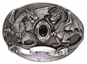 Twin Dragons Jet Stone Belt Buckle