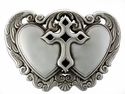 Victorian Twin Hearts Cross Womens Belt Buckle