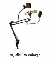 Desktop Microphone Stand With Rotating Phone Holder & Pop-Filter MDS-28-502950