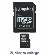 Kingston 4GB microSDHC Flash Memory Card with/Adapters, Class 10 SDC10/4GB