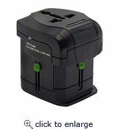 Multi-Nation Travel Adapter with Dual USB Charger (2.4A)