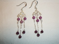 Amethyst and Phosphorite Earrings