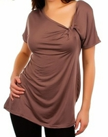 Brown Top with Side Twist Knot