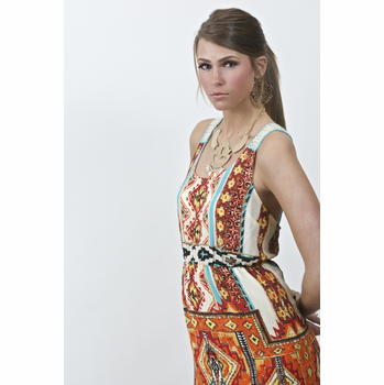 Flying Tomato Orange Tribal Print Dress