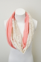 Lace and Peach Infinity Scarf