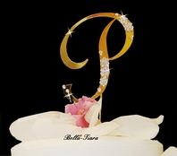 Amazing Gold Wedding Monogram Cake Topper w/ Swarovski Crystal Flowers