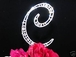 Amazing Large Vintage Full Single Crystal Monogram Cake Topper