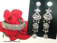Amber - Beautiful wedding prom chandelier statement earrings and bracelet set - SPECIAL