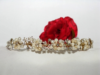 Amore-Champagne Rum Pearl Gold Band Tiara