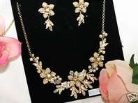 Angelica - Gold Champagne Floral Bridal Jewelry Set